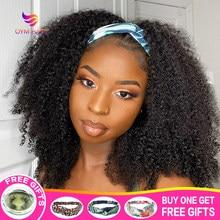 Headband Peruca Afro Kinky Curly Perucas para As Mulheres Negras Bob Curto Encaracolado Cheio Cachecol Banda de Cabeça Peruca 180% Cabelo Humano Jerry Onda Peruca