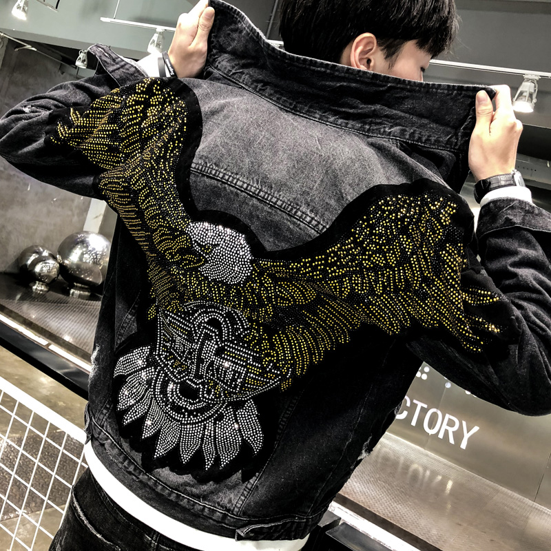 Spring Autumn Men's Denim Jacket Brand Eagle Rhinestone Cotton Jeans Jacket Casual Coat Streetwear Outwear Hip Hop Clothing