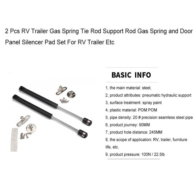 2 Pcs RV Trailer Gas Spring Tie Rod Support Rod Gas Spring and Door Panel Silencer Pad Set For RV Trailer Etc