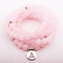 Fashion Design Women`s Yoga Bracelet Picture Moss Natural Stone Necklace Buddha Pendant Charm Wrap