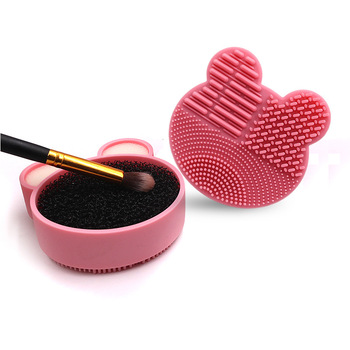 1 Set Makeup Brush Cleaner Kit Double Side Design with Cosmetic Brush Cleaning Box and Instantly Dry Color Removal Sponge