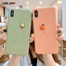 USLION 3D Cute Orange Phone Cases Cover For iPhone 11 6S Plus 7 8 7Plus X XR XS MAX Funny Avocado Soft Back Case 6
