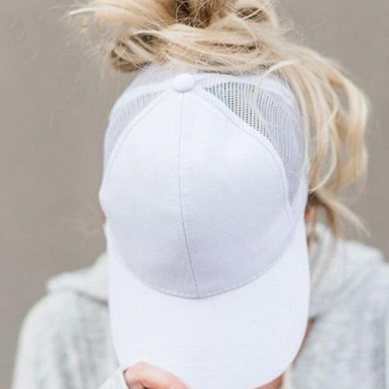 Baseball Cap Casual Sport Caps Women Vacation Snapback Cotton Comfort Summer Hats Adjustable Open Hole Messy Bun Hats