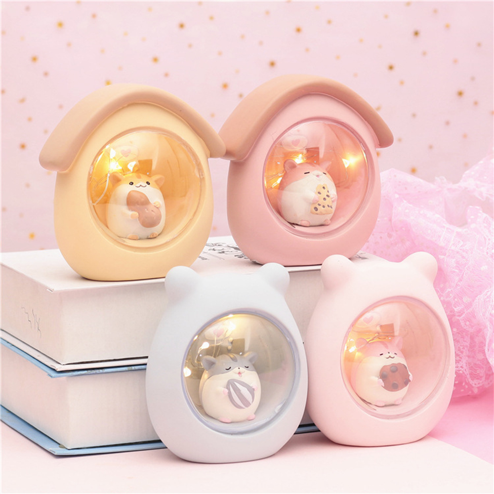 Resin Star Light Cute Hamster Light Home Decoration Accessories Japanese Animals Lovely Valentine'S Day Lamp Hamster Piggy Bank