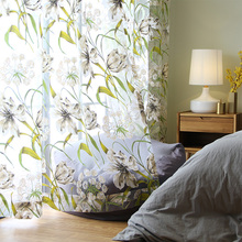 Floral Tulle Curtain for Living Room Window Sheer Curtains for Kitchen Door Pastoral  Printed Voile Curtains Drapes Blinds Green pastoral daisy door screen voile window sheer curtain blinds drape bedroom curtains backdrop christmas decorations for home wall