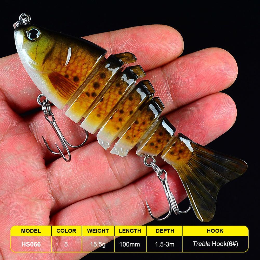 3PCS Sinking Fishing Lures 10cm Jointed Swimbait Hard Pike Bass Lure Crankbait