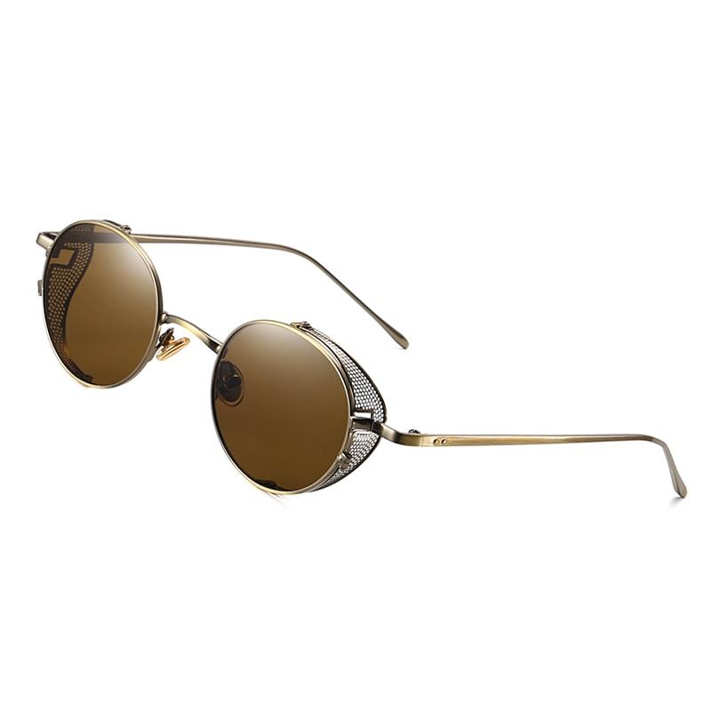 Unisex Steam Punk Vintage Sunglasses Round Polarize Clip On Lens Removal Eyewear