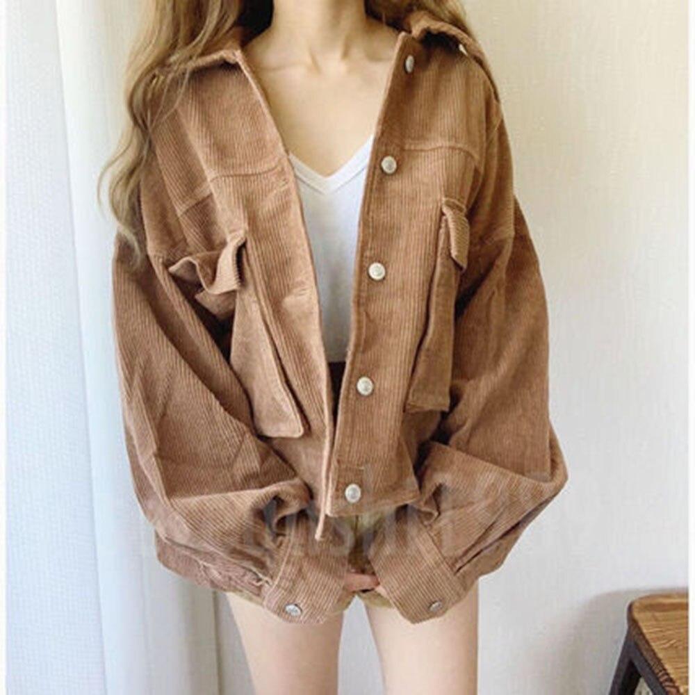 Короткая куртка, пальто для женщин, Корейская Повседневная простая однобортная Куртка Harajuku с заклепками, коричневая Базовая верхняя одежда...
