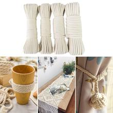 Handmade DIY Off-white Cotton Rope Knitting Braided Decorative Yarn Luggage Drawstring Curtain Tied