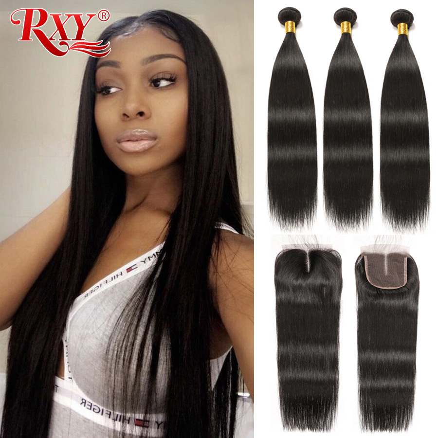 RXY Remy Peruvian Hair Bundles With Closure Straight Hair Bundles With Closure 100% Human Hair Bundles With Closure No Shedding
