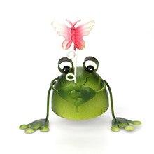 Houkiper Cartoon Creative Cute Frog Iron Art Decoration Home Gardening Frog Decoration Home Living Room Decoration Metal Crafts