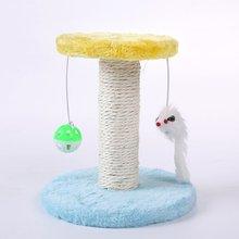 Cat's Tree Climbing Frame Cat's Scrape Board Training Toy Rolling Sisal Scraping Post Column Rack With Fake Rat