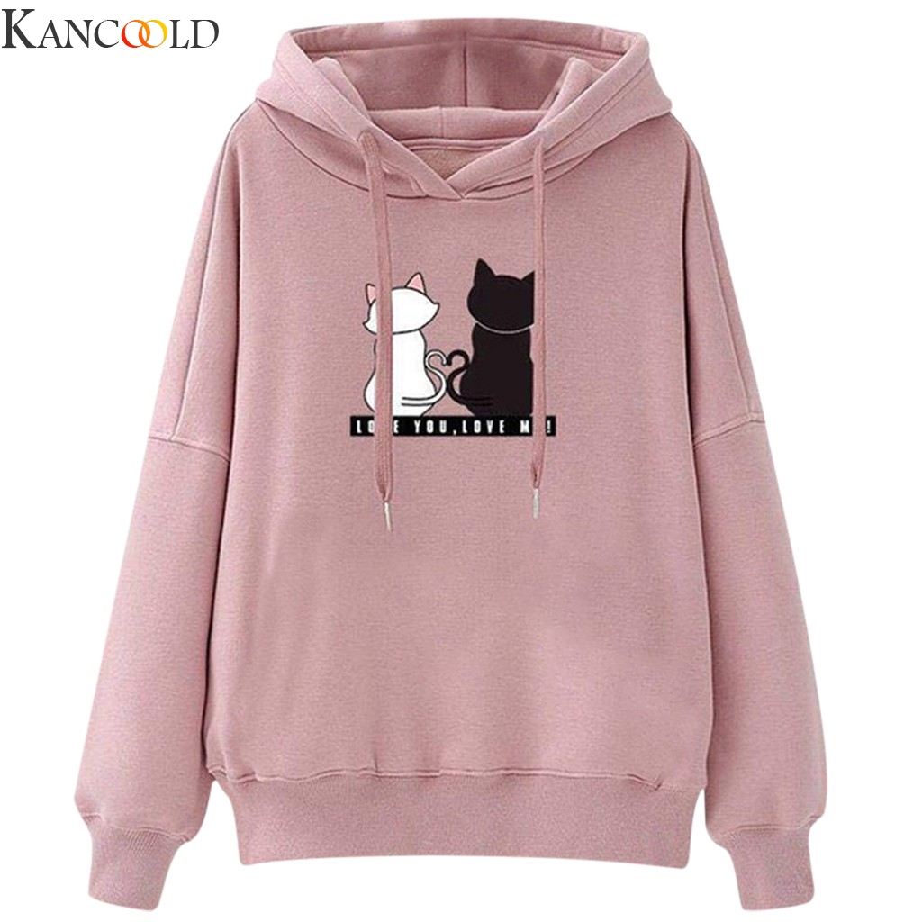 KANCOOLD Polyester Fashion Women Casual Long Sleeve Cat Print Blouse Hooded Sport Sweatershirt Tops Street Casual Clothes New
