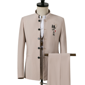 Traditional Stand Collar Tunic Suits Costume Male Embroidery Chinese Word Suit Wedding Tunic Suit Jacket+Pants 2 pcs Sets фото