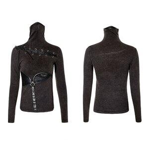 Image 5 - PUNK RAVE Steampunk col haut masque femme T shirts Stretch tricot couture élastique maille tissu hauts noirs Punk Rock T shirts gothique