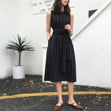 Elegant Office Lady Work Dress Sexy Sleeveless Striped O-Neck A Line Femme Ladie