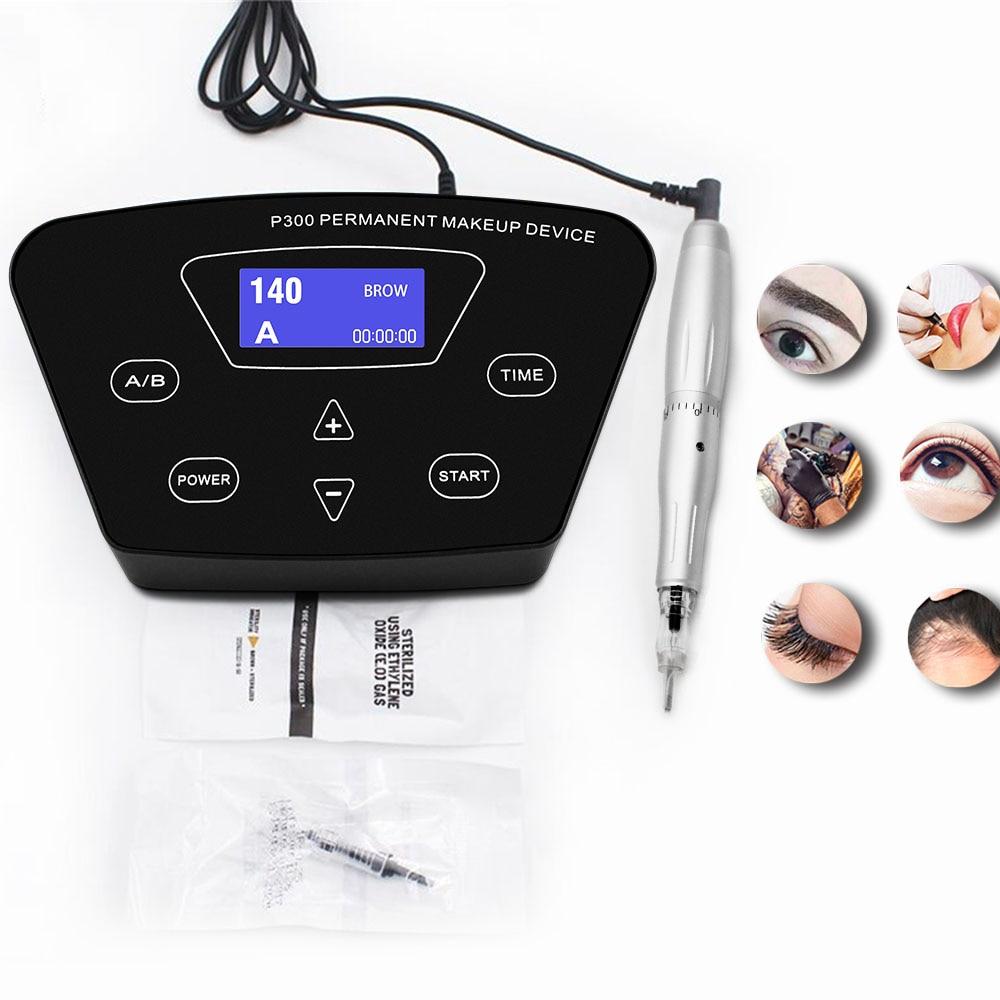 Biomaser profissional completo máquina de tatuagem giratória caneta para maquiagem permanente sobrancelhas lábios microblading diy kit com agulha de tatuagem