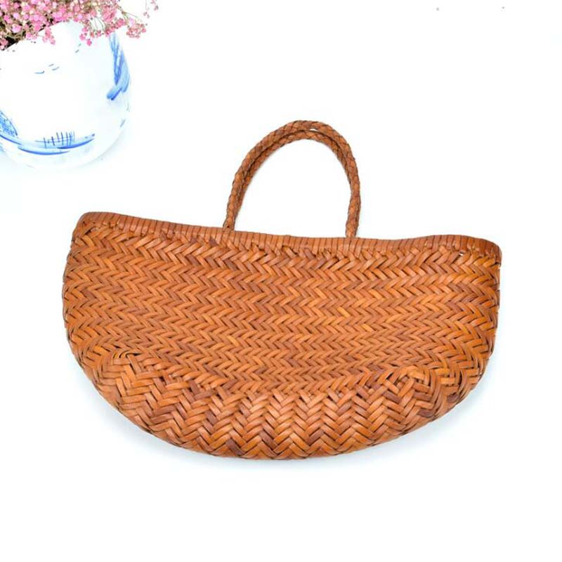 Women's Genuine Leather Shoulder Bag with Inner Bag Weaving Casual Shopping Bag Vintage Tote Purse Cowhide Cross Hand Bags