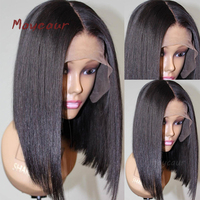 Bob Synthetic Lace Front Wig With Natural Hairline Heat Resistant Short Straight Wigs For Women 180 Density 14 16 inch