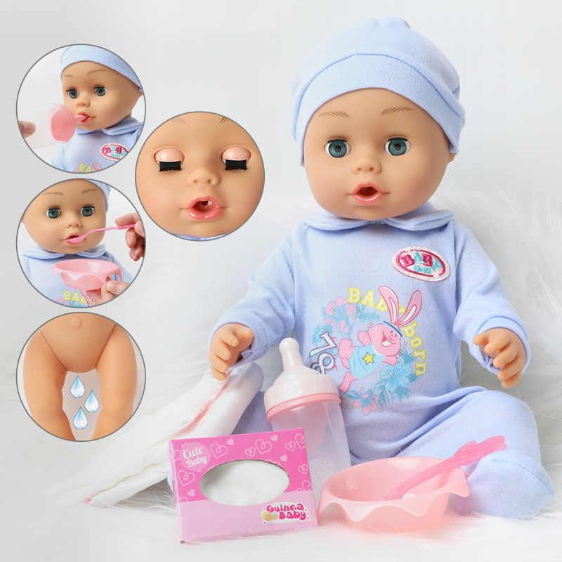 18 นิ้ว Bebe Reborn ตุ๊กตา 46 ซม.กันน้ำซิลิโคนทารกแรกเกิดขวดเครื่องดื่มน้ำน่ารักตุ๊กตาของเล่น chlidren
