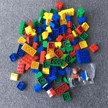 100PCS Children Building Blocks  & 2 PCS  FIGURES Creative Educational Early Childhood Assembled Block Building Blocks Toys недорого