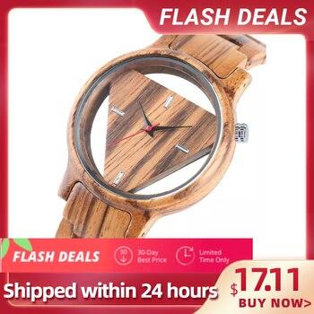 Unique Inverted Geometric Triangle Wood Watch Men Women Creative Hollow Dial Full Wooden Quartz Wristwatch Reloj de madera 2020