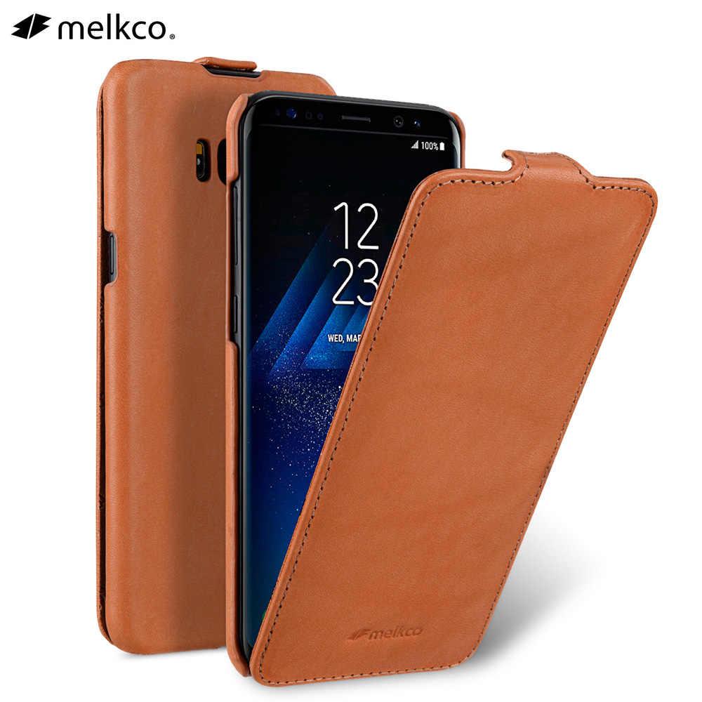 Housse de téléphone à rabat en cuir véritable ouvert Vertical pour Samsung Galaxy S8 sac de poche d'affaires en peau de vache véritable pour Samsung S8 + Plus