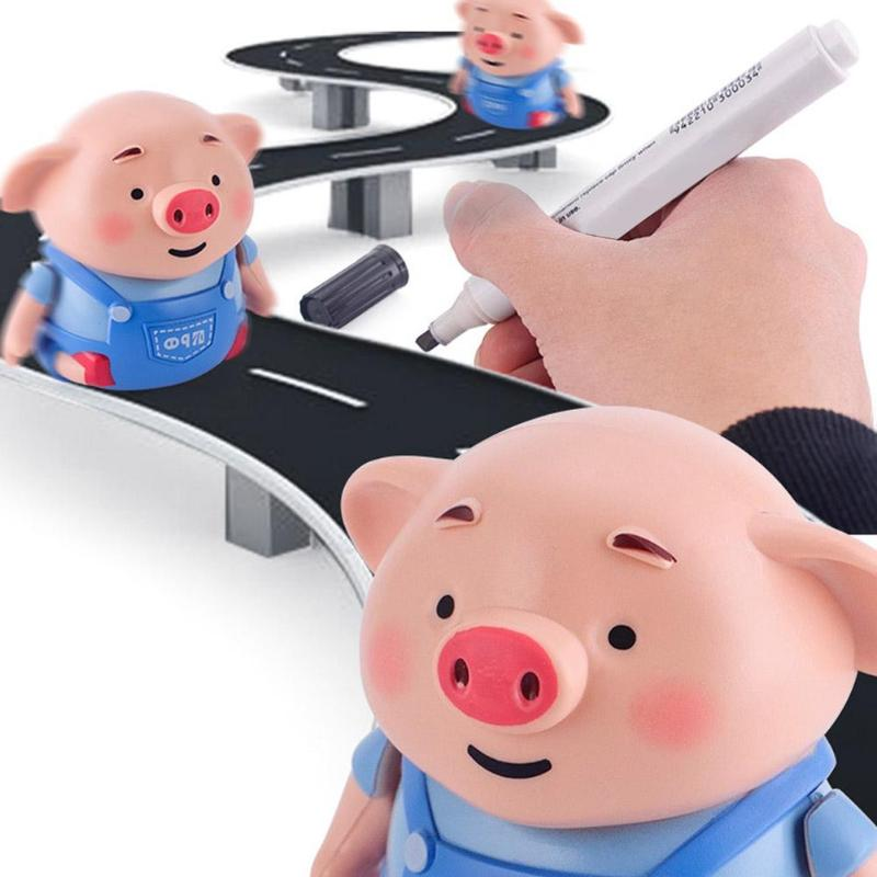 1pcs Inductive Pig Pen Draw Line Heel Robot Light Music Creative Animal Pig Education Kid Toy Birthday Gift For Children