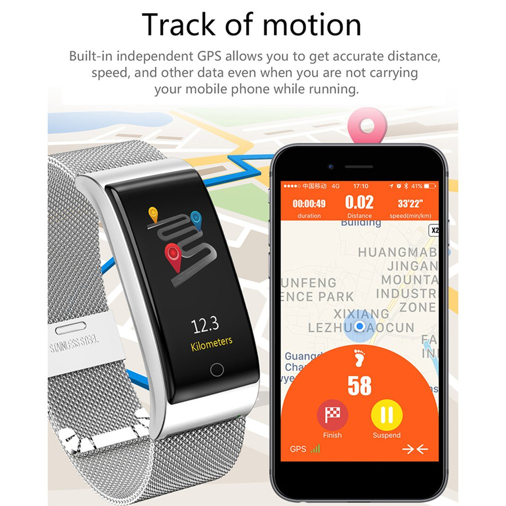 Electronics - F4 Metal Smart Band Wristband Blood Pressure/Fitness/ Heart Rate Monitor