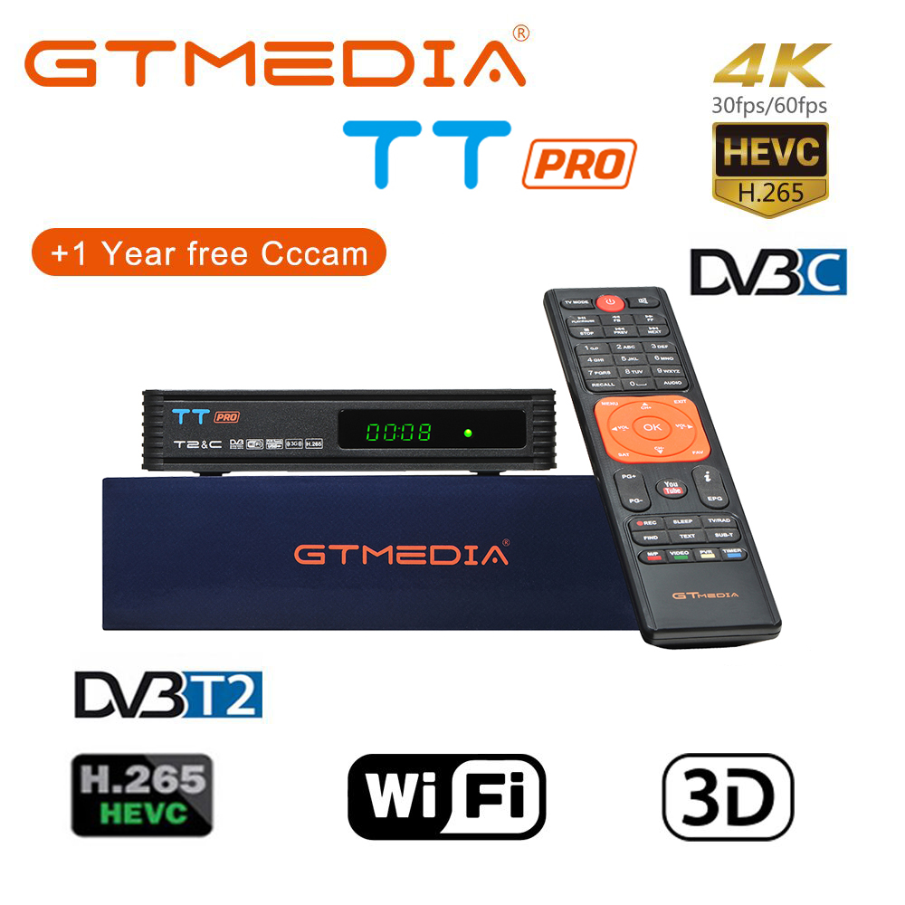 100% Original 2019 New Arrival GTMEDIA TT PRO DVB-C DVB-T2 Satellite TV Combo Receiver Support 1080P+Spain Russia 2 year 5 Cline image