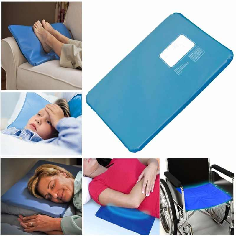 Ice Cold Pillow Cool Gel Low Temperature Nontoxic Auxiliary Pad Muscle Soothing Sleeping Pad Travel Pillow Neck Water Blue 1Pc