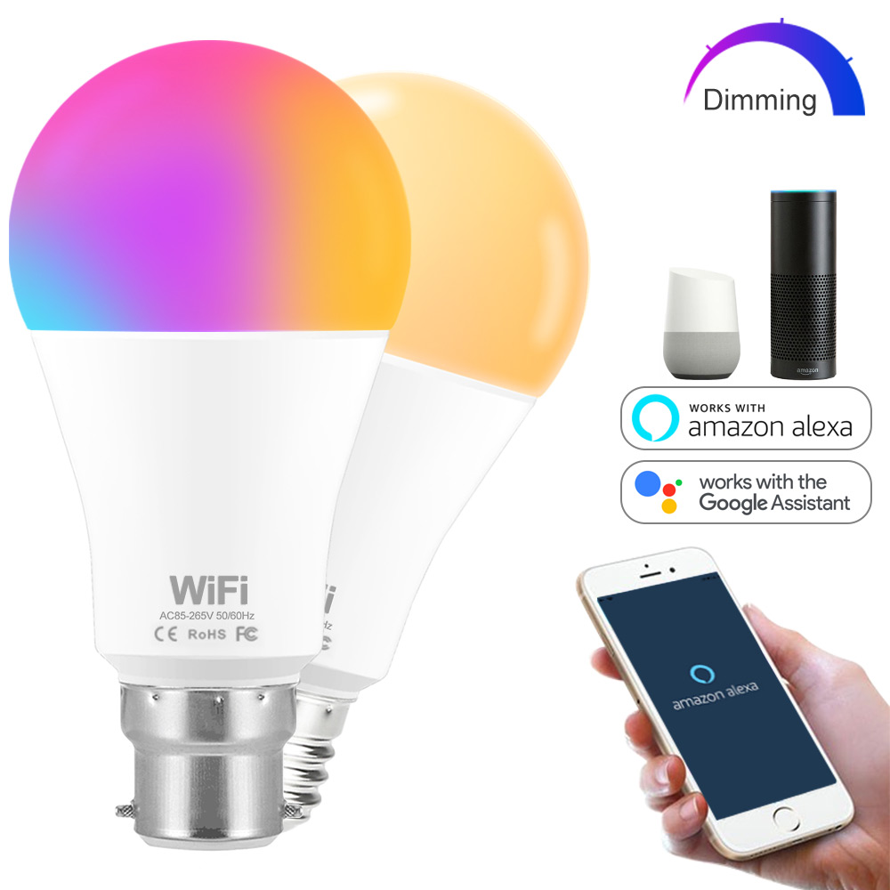 Dimmable 15W E27 WiFi Smart Light Bulb Lamp Warm White,/ White / RGB LED Bulb App Operate Alexa Google Assistant Voice Control