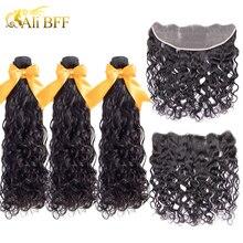 ALI BFF extensiones con ondas al agua cabello brasileño con cierre, cabello Remy Frontal con oferta de extensiones de cabello humano con Frontal