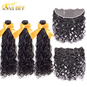 Image 1 - עלי BFF שיער ברזילאי מים גל חבילות עם סגירת רמי שיער תחרה פרונטאלית עם עסקת חבילות שיער טבעי חבילות עם פרונטאלית
