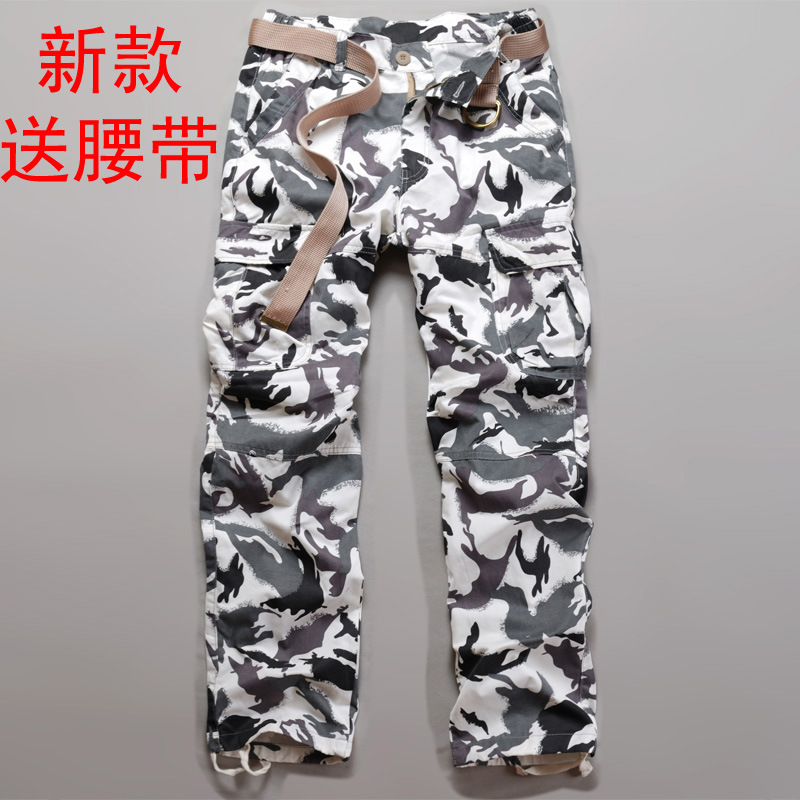 Ghost Step Dance Camouflage Pants Men Snowfield White Camo Multi-pockets Bib Overall 6516m Cotton 19