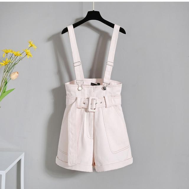 2021 Summer Korean Fashion Striped T-shirt Overalls Set for Women Leisure Joker Girls Student High Waist Shorts Clothing Sets 4