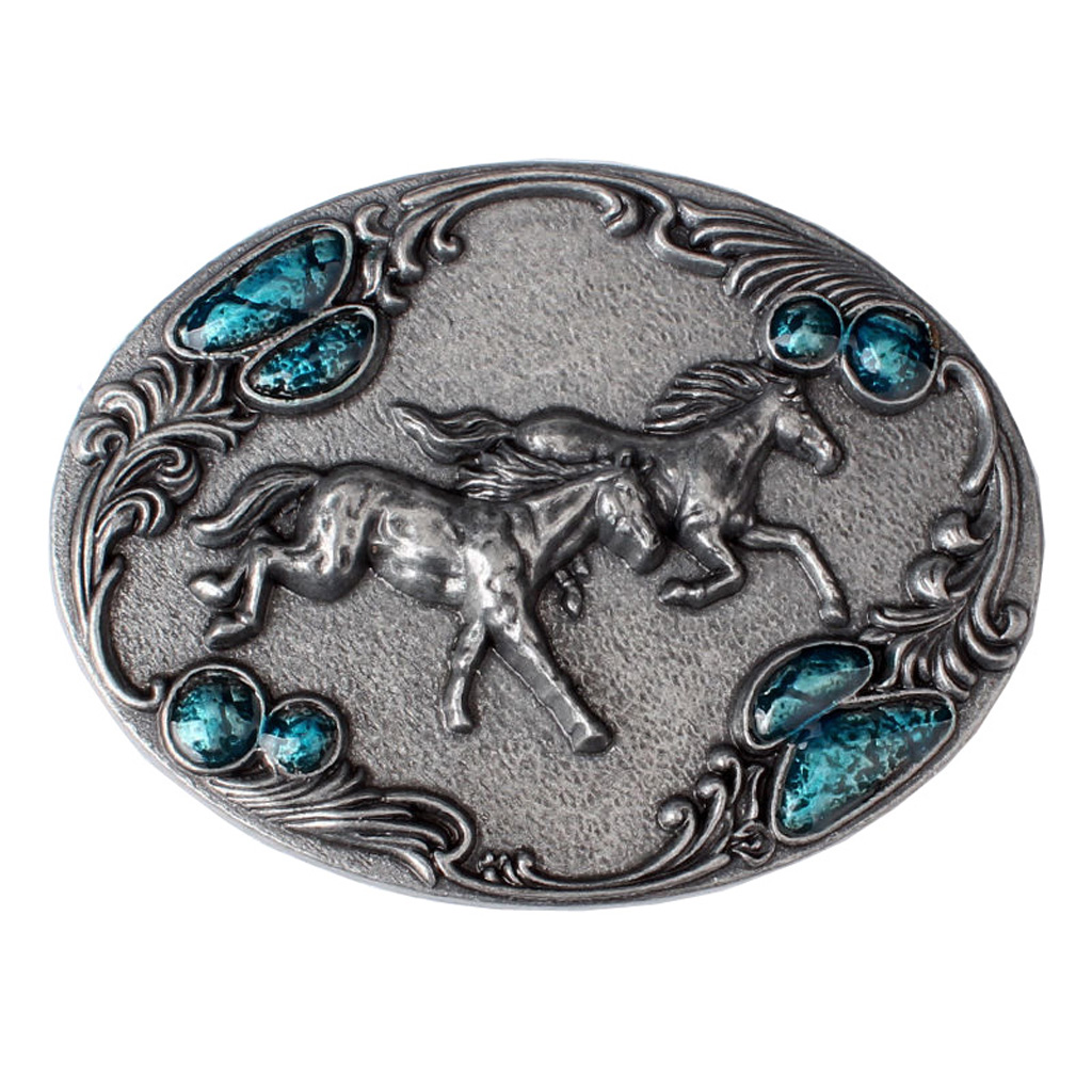 Western Style 3D Running Horse Metal Belt Buckles Vintage Western Cowboy Cowgirl And American Country Style Buckle For Belt