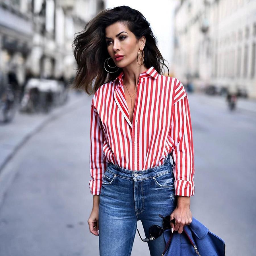 Fashion New Long-sleeved Shirt Shirt Women's Striped Wild Ladies Shirt Spring And Autumn Loose Women's Shirt