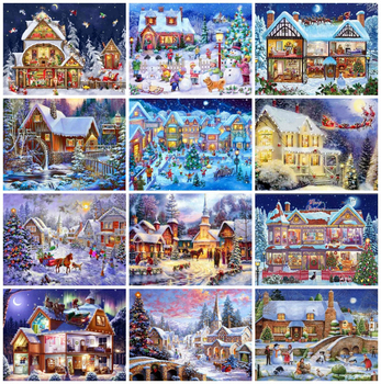 AZQSD DIY Diamond Painting Winter Landscape Diamond Mosaic Full Drill Christmas Picture Of Rhinestones Home Decoration azqsd diamond painting santa rhinestones pictures christmas diamond mosaic full display embroidery with crystals home decoration