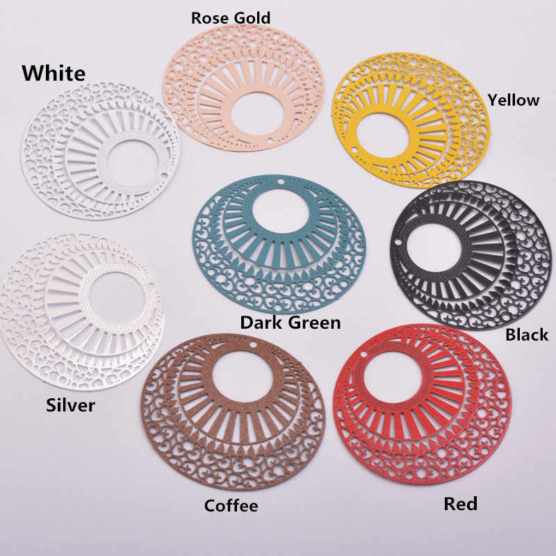 30pcs AA3654 35*38 มม.ทาสีแสตมป์รอบ Charm ทองเหลือง Filigree ลายน้ำจี้เครื่องประดับขนาดใหญ่ต่างหูอุปกรณ์เสริม
