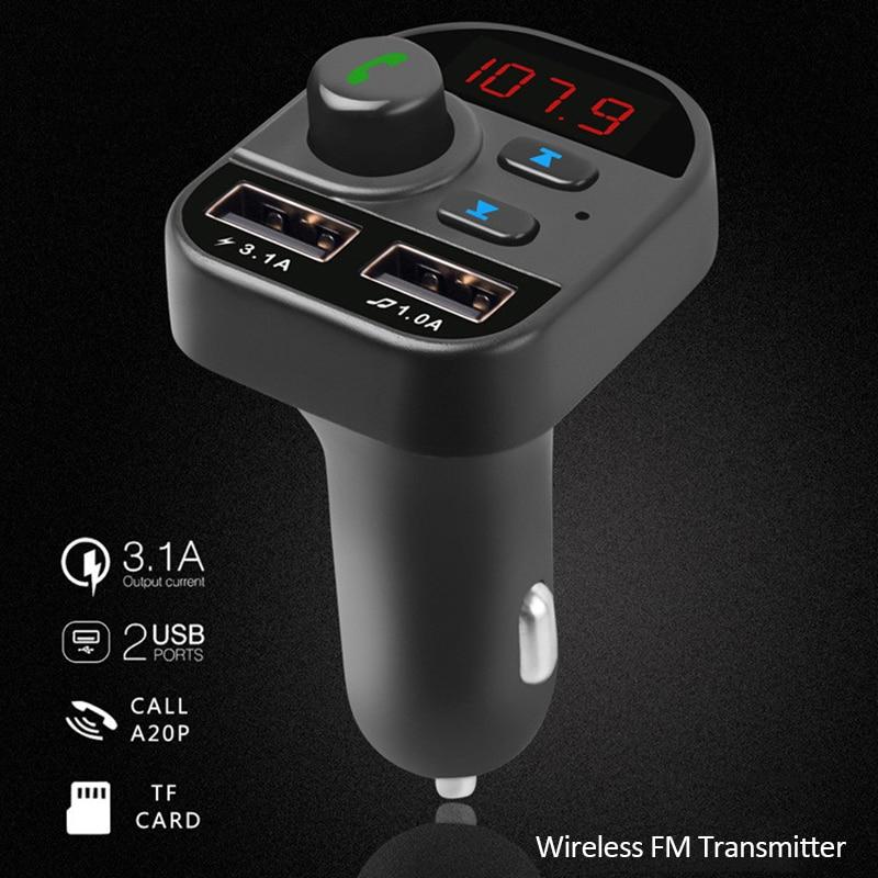 Carro handsfree sem fio bluetooth kit transmissor fm carro mp3 adaptador de rádio 2 usb carregador fm modulador acessórios do carro ornamentos