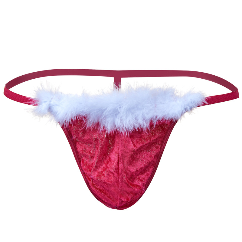 Men Christmas Costume Thong G String Sexy Erotic Underwear Santa Claus Fluff Lingerie Jockstrap Underpants Hombre Panties