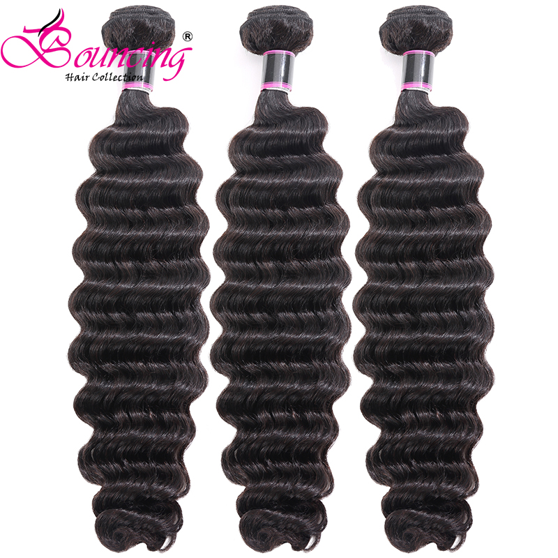Bouncing Hair Natural Color Deep Wave Hair Weft Bundles 3 Or 4Pcs/Lot 8-26 Inch Brazilian Human Remy Hair Extentions Low Ratio