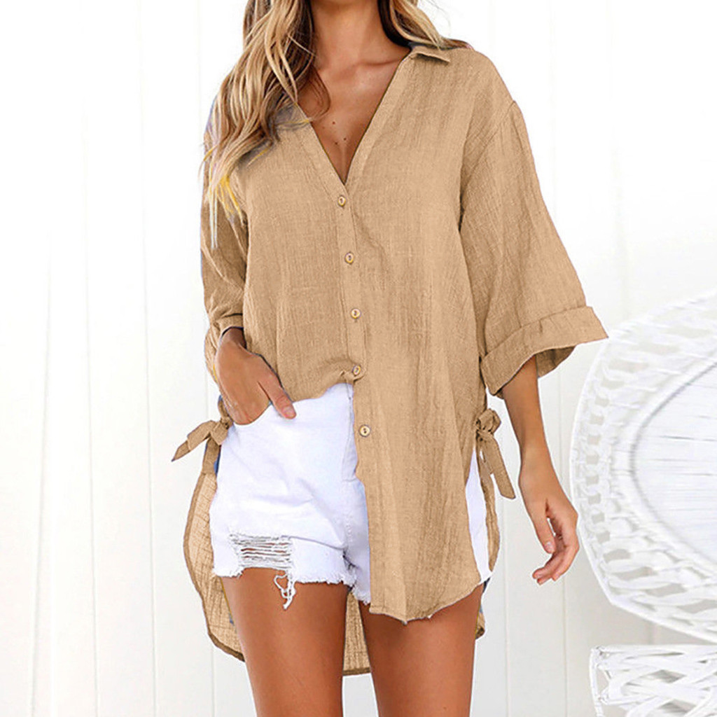 M-5XL Plus Size Women Beach Cover Up Solid Bikini Tunic Button Long Sleeve Swimwear Women Swimsuit Kaftan Beach Pareo Cape Mujer