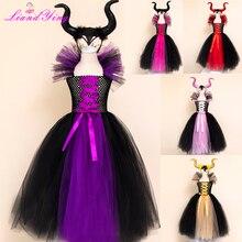 גלגוליו Evil מלכת בנות טוטו שמלה עם קרנות ליל כל הקדושים קוספליי מכשפה תלבושות עבור בנות ילדים מסיבת בנות ביגוד