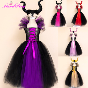 Image 1 - Maleficent Evil Queen Girls Tutu Dress with Horns Halloween Cosplay Witch Costume for Girls Kids Party Dress Children Clothing