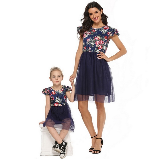 2020 Mother Daughter Dresses Short Sleeve Floral Short Dress Family Clothes Mom Daughter Princess Dress Family Matching Clothes 4