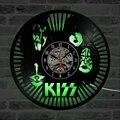 قبلة موسيقى الروك ليد ساعة حائط الحديثة تصميم الكلاسيكية CD الساعات سبعة ألوان الخلفية مسجل فينيل جدار ووتش ديكور المنزل الصامت