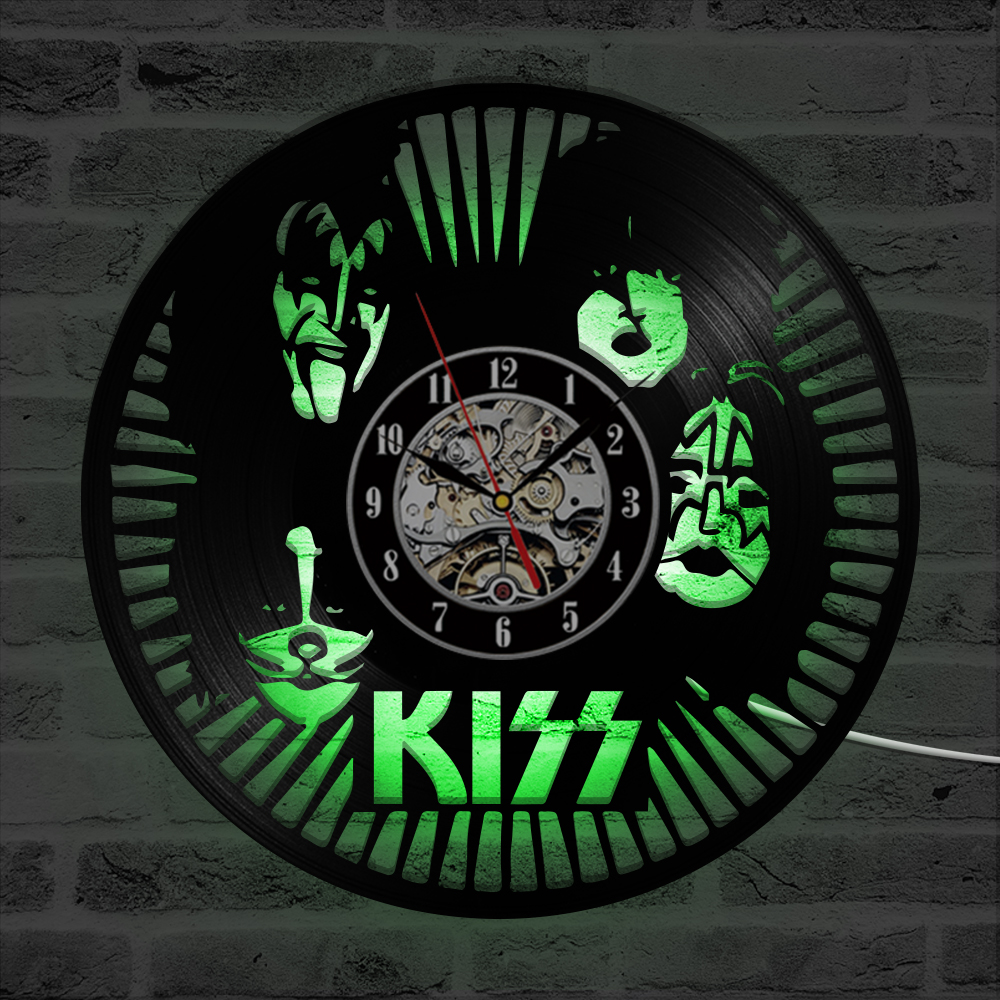 KISS Rock Band LED Wall Clock Modern Design Classic CD Clocks Seven Colors Backlight Vinyl Record Wall Watch Home Decor Silent