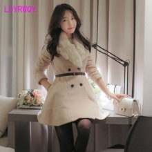 2019 new woolen coat womens double-breasted slim slimming Korean women Turn-down Collar